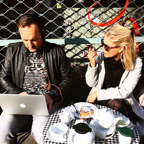 Coffee-Cake-Music-Girl-Chilling-MacBook-Sunglasses-Break.